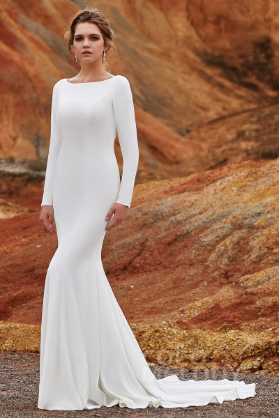 dfe0b8d95 Trumpet-Mermaid Court Train Knitted Fabric Wedding Dress LD5817
