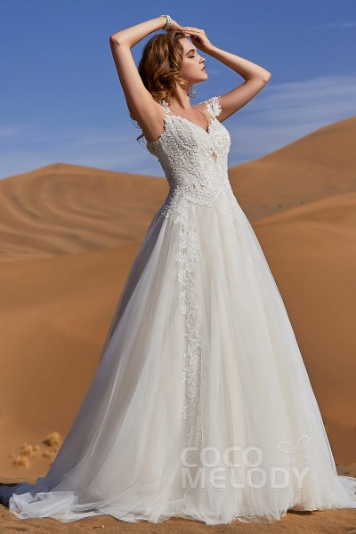 9224d935efa A-Line Court Train Tulle and Lace Wedding Dress LD5811