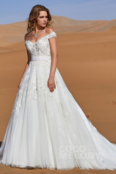 eb848cc4588 A-Line Chapel Train Tulle and Lace Wedding Dress LD5812