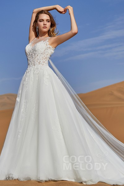A Line Court Train Tulle And Lace Wedding Dress Ld5815