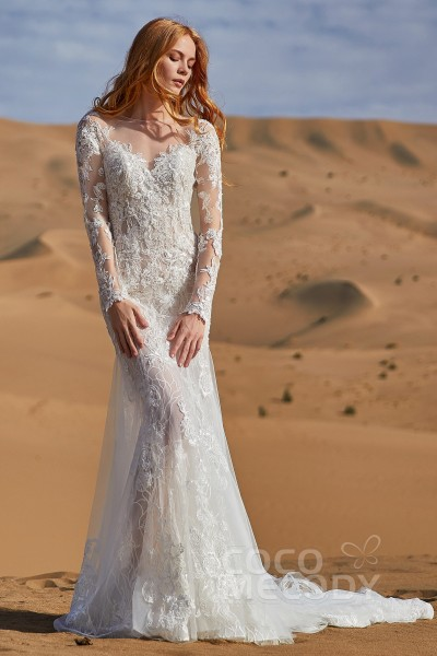 102bd598c Trumpet-Mermaid Court Train Tulle and Lace Wedding Dress LD5838