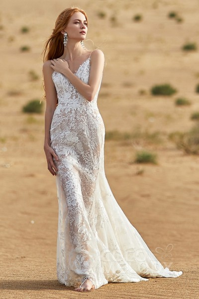 b9863b3f1aeee9 Trumpet-Mermaid Chapel Train Tulle and Lace Wedding Dress LD5808
