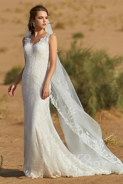 15dcd1fd14 Trumpet-Mermaid Court Train Tulle and Lace Wedding Dress LD5806