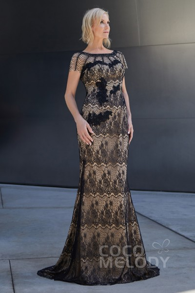 3e6819ccf Trumpet-Mermaid Sweep-Brush Train Lace and Knitted Fabric Dress PR3620
