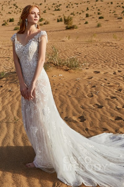 9caa0f7dbcb84e Trumpet-Mermaid Chapel Train Tulle and Lace Wedding Dress LD5809