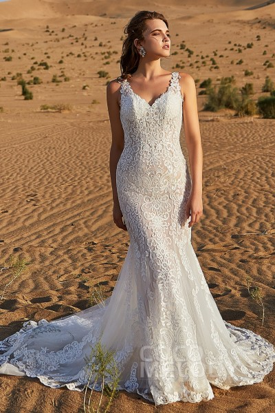90363096f80 Trumpet-Mermaid Court Train Tulle and Lace Wedding Dress LD5810