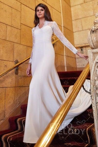 d5a86397056b Trumpet-Mermaid Chapel Train Knitted Fabric Wedding Dress LD5768