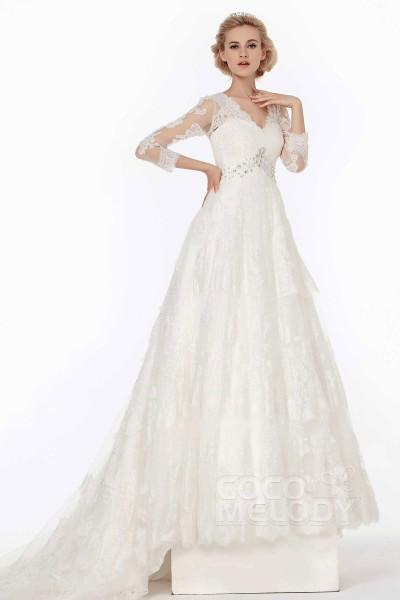 cb0fee63724 Dramatic A-Line V-Neck Chapel Train Lace Wedding Dress Alb12077