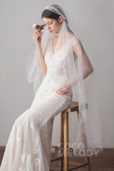 Fashion One Tier Cut Edge Tulle Waltz Veils With Rhinestone Av18034