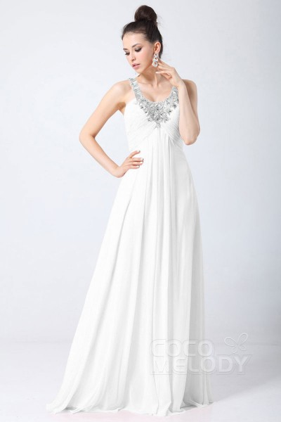 Vintage Sheath-Column Straps Floor Length Chiffon Prom Dress with Draped dca87f211e5a