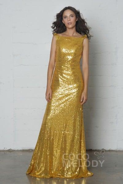 3f1ec8076a Elegant Sheath-Column Bateau Natural Floor Length Sequined Sleeveless Side  Zipper Dress with Draped COZF17020