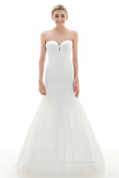 A Line Floor Length Medium Fullness Slip 2 Hoops Polyester Taffeta Wedding