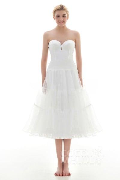 A Line Tea Length Short Flare Slip Organza Wedding Petticoats Cp001600b