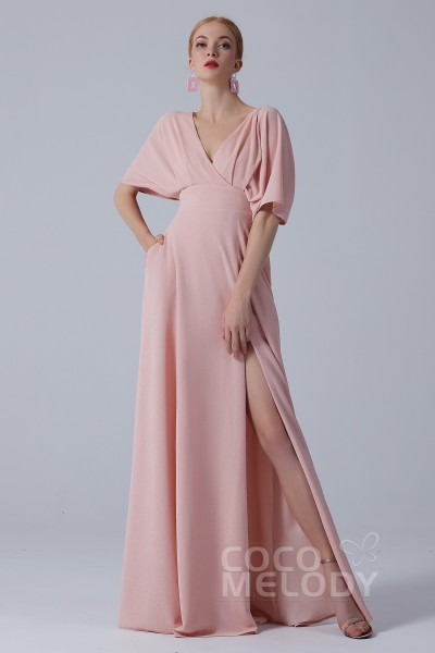 8b7158dab2d32 A-Line Floor Length Twisted Silk Fabric Dress CS0211