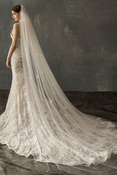 Brides Bridal White Chapel Length Veil 1 Tier Soft Tulle Cut Edge With Comb