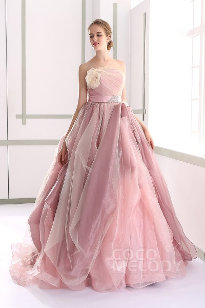 Chic A Line Strapless Natural Court Train Tulle And Organza Sleeveless Lace Up Corset