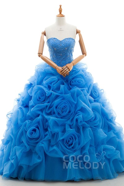 7c00daabe59 Elegant A-Line Sweetheart Dropped Court Train Organza Blue Glow Sleeveless  Lace Up-Corset
