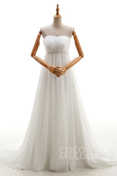 a62a984e49a Noble Sheath-Column Sweetheart Empire Court Train Chiffon Ivory Sleeveless  Lace Up-Corset Wedding