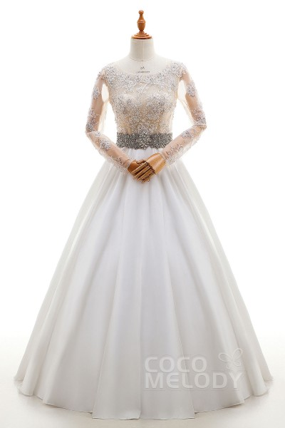 a8f73556 Trendy A-Line Bateau Natural Floor Length Satin and Lace Ivory/Champagne Long  Sleeve