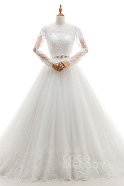 4c8e232f2544a Charming A-Line Off The Shoulder Natural Court Train Tulle and Lace Ivory Long  Sleeve