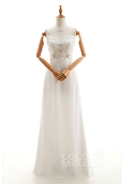174e51f9 New Design Sheath-Column Spaghetti Strap Natural Floor Length Lace and  Chiffon Ivory Sleeveless Open
