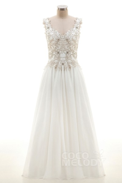 Luxurious Sheath-Column V-Neck Floor Length Chiffon Ivory Sleeveless Lace  Up-Corset ee3eb38d2