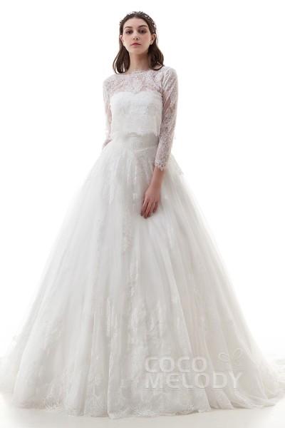 Impressive Princess Bateau Natural Court Train Lace And Tulle Ivory 3 4 Length Sleeve Zipper