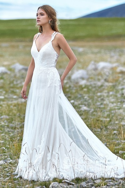 Trumpet Mermaid Court Train Tulle Wedding Dress Ld5773
