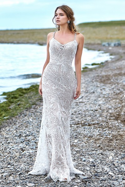 dae11b271 Trumpet-Mermaid Sweep-Brush Train Lace Wedding Dress LD5779