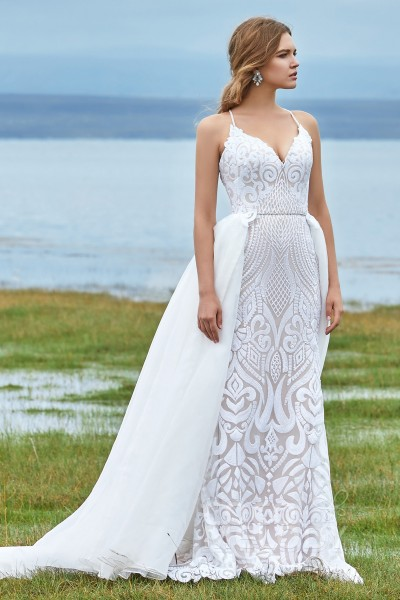 Trumpet-Mermaid Court Train Sequined Lace Wedding Dress LD5780 2b657e4c6