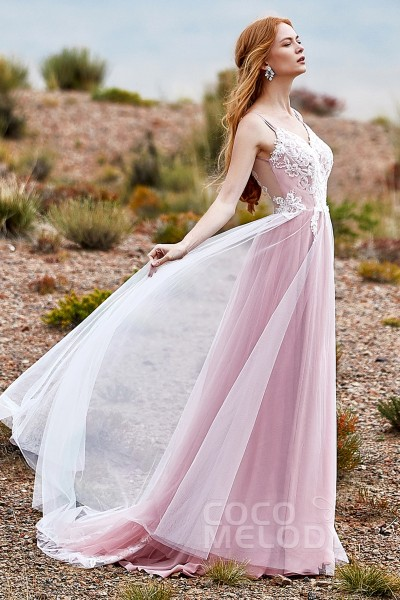 7f66b58d3d3 A-Line Sweep-Brush Train Tulle and Chiffon Wedding Dress LD5832