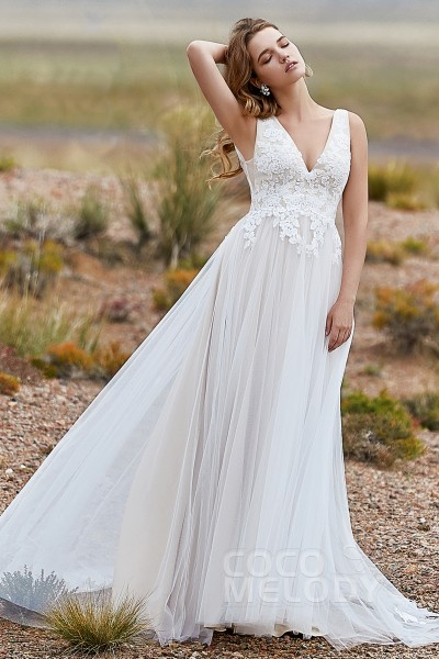 A Line Sweep Brush Train Tulle Wedding Dress Ld5833