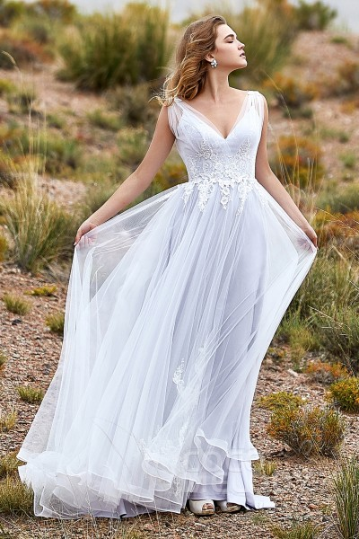 59e750baa5f A-Line Court Train Tulle Wedding Dress LD5845