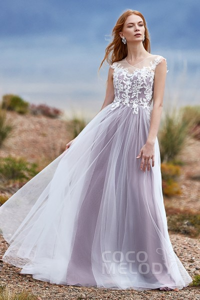 77327cd5530 A-Line Court Train Tulle Wedding Dress LD5846