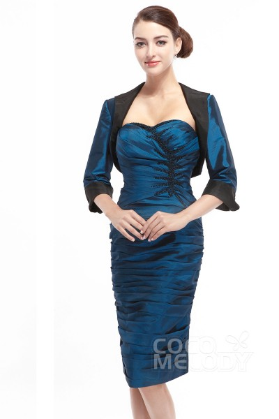 99b2099e885 Sweet Sheath-Column Sweetheart Knee Length Taffeta Mother Of The Bride Dress  Jacket-Bolero