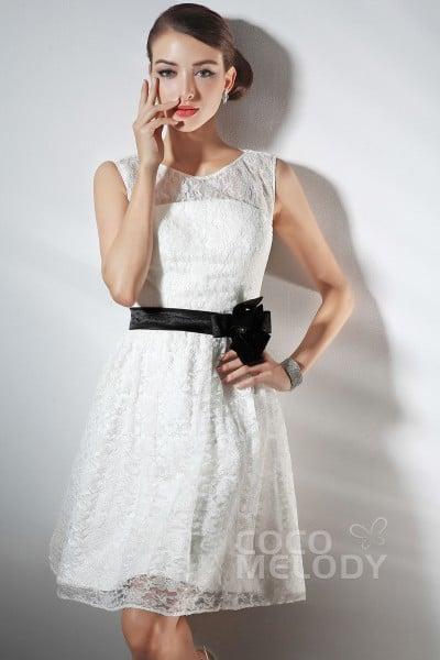 cc08e281df0 Simple A Line Jewel Knee Length Ivory Lace Party Dress COZK14012
