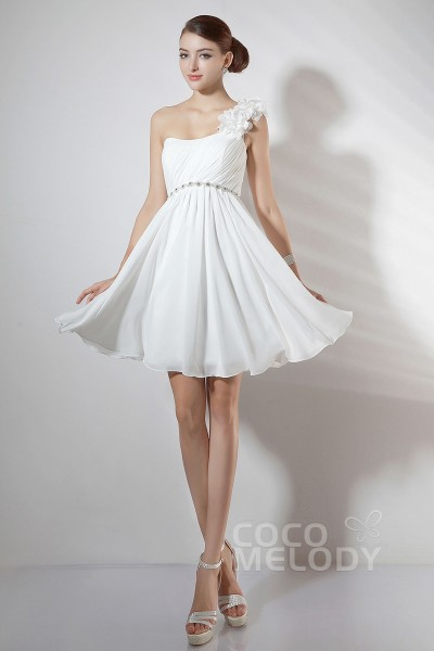 38aa168b0d9 Casual A Line One Shoulder Knee Length Ivory Chiffon Party Dress COKM14005
