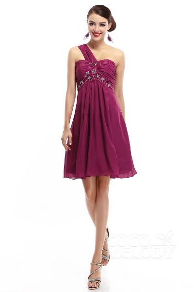 ef749669b2e A-Line One Shoulder Empire Short-Mini Chiffon Grape Sleeveless Zipper Party  Dresses COZM14018