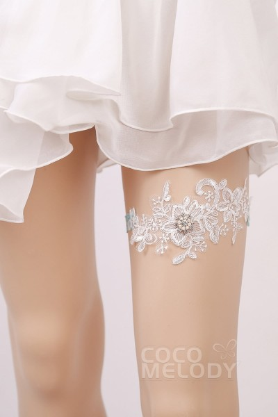 Lace Wedding Garter With Diamond And Pearls Wd17013
