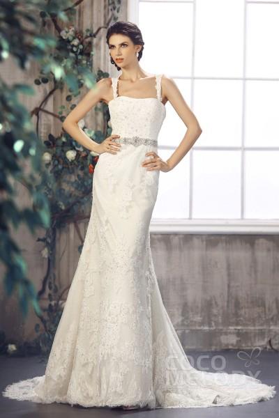dee28dbf330 New Arrival Sheath-Column Straps Court Train Lace Wedding Dress CWXT1301B