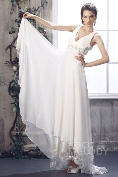 Sweet Sheath Column V Neck Empire Waist Sweep Brush Train Chiffon Wedding Dress