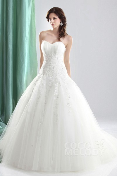 Timeless Ball Gown Sweetheart Court Train Tulle Lace Up Corset Wedding Dress Cwlt1304c