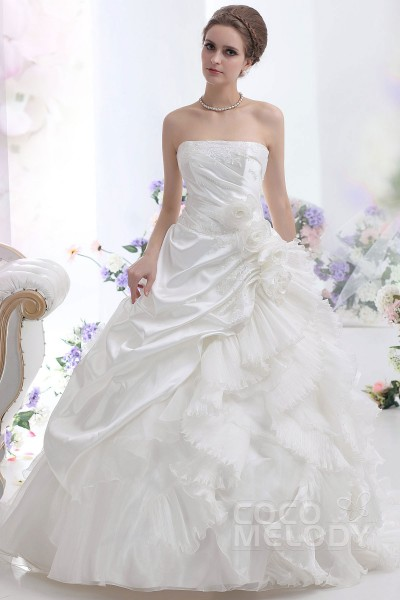 Y A Line Strapless Court Train Taffeta Wedding Dress Cwjt13003
