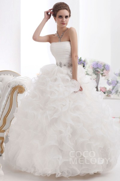 Ball Gown Floor Length Organza Wedding Dress CWXF13002 | Cocomelody