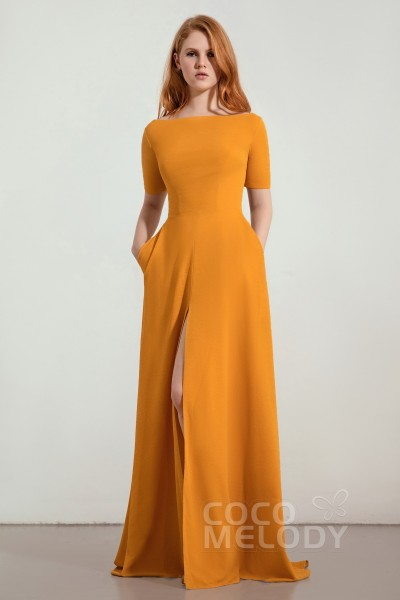 4bba8037 A-Line Sweep-Brush Train Twisted Silk Fabric Bridesmaid Dress CB0280 · 13  Colors