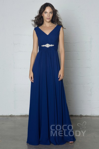 72628fa10970 Hot Sale Sheath-Column V-Neck Natural Floor Length Chiffon Sleeveless  Zipper Dress with