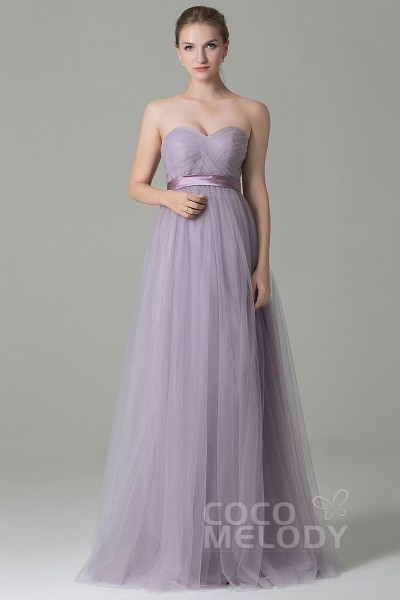 Charming Sheath Column Natural Floor Length Tulle Sleeveless Zipper Convertible Bridesmaid Dress With Sashes Cozf1500b