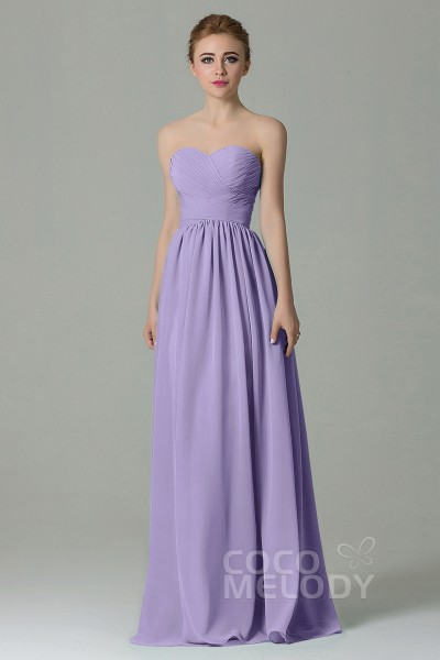8e546d9e46 Simple Sheath-Column Sweetheart Natural Floor Length Chiffon Sleeveless Lace  Up-Corset Bridesmaid Dress