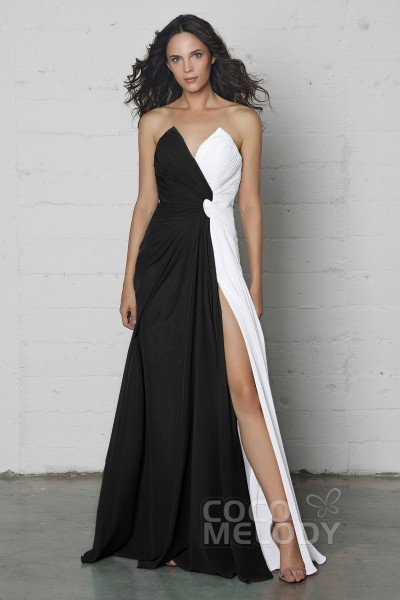 Charming Sheath-Column V-Neck Natural Floor Length Chiffon Sleeveless  Zipper Dress with Pleating 373714f3a
