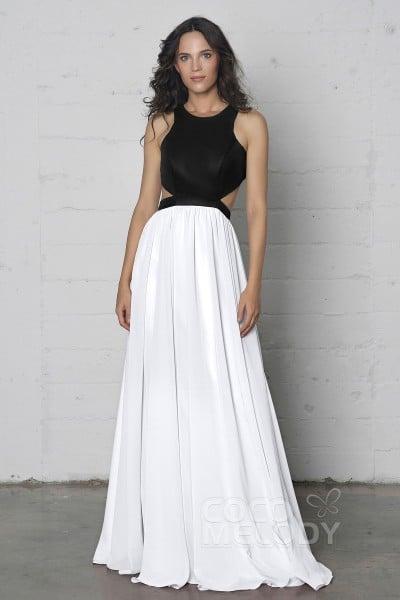 Luxurious Sheath-Column Jewel Natural Floor Length Chiffon Sleeveless  Zipper Dress with Pleating COZF17004 1f4c2cc35847
